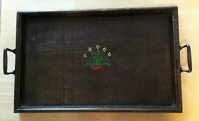"Vintage Edwardian wood serving Tea Tray 19"" x 12"" , country, Rustic,"