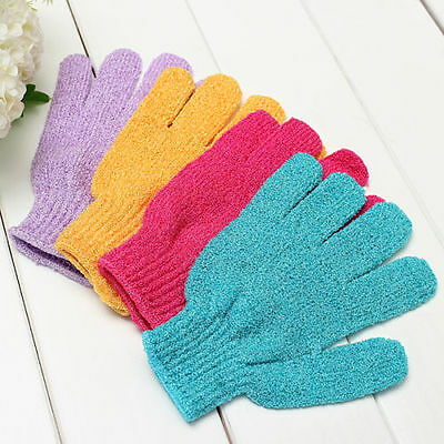 2x Shower Bath Gloves Exfoliating Wash Skin Spa Massage Loofah Body Scrubber bo