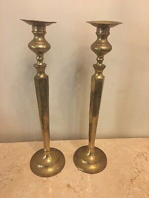 """Vintage Large Pair Brass Candlesticks 17-18"""" Heavy Candle Sticks Holders"""
