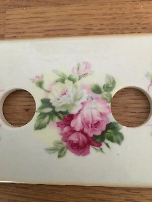 Floral Vintage Retro Light Switch Plate Shabby Chic Toggle Roses Ceramic Tile