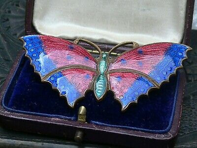 Vintage Antique 1900s- Art Deco Red & Blue Guilloche Enamel Butterfly Brooch Pin