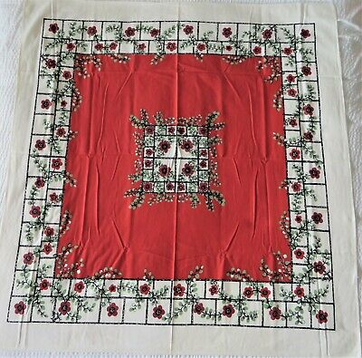 "Vintage Startex Printed Tablecloth 53""x50"" Red & White Poppy Flowers Floral"