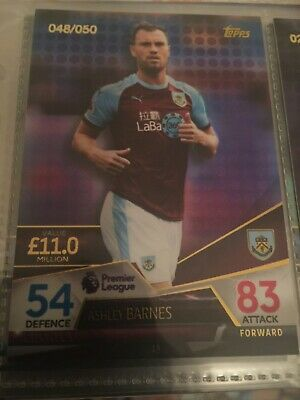 Topps Match attax Ultimate 2018/19 ASHLEY BARNES Burnley Purple Parallel 048/050