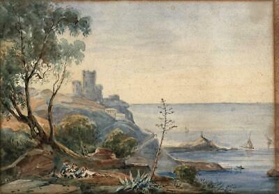 FIGURES & CASTLE ON COASTLINE Antique Watercolour Painting - 19TH CENTURY
