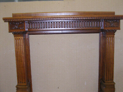 superb carved english solid oak antique fire surround