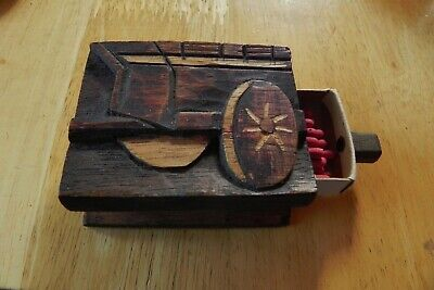 Antique Hand Carved Wood Sliding Match Box Wagon With Wheel Primitive