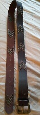 Lucky Brand Mens Chevron Stitched Leather Belt