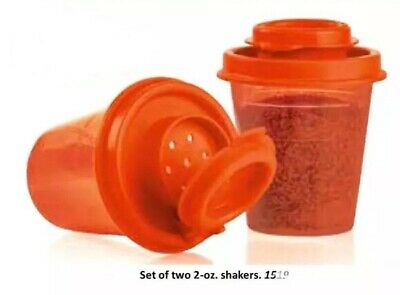 2 NEW TUPPERWARE Small Mini Salt And Pepper / Spice Shakers : Red (1 Pair)