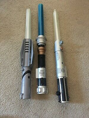 Lot Of 3 Obi-Wan Lightsaber 2004, Color Change 2004, Force Unleashed Star Wars
