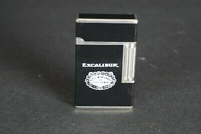 Excalibur flint gas lighter Black and Silver quality Cigar lighter MIB