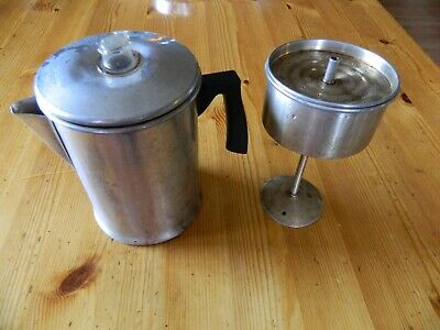 Vintage Mirro 5-9 Cup Aluminum Stovetop Coffee Pot / Percolator - Complete