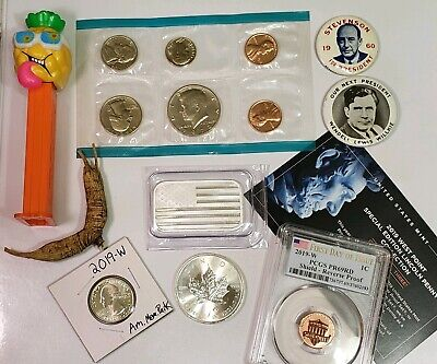 Junk Drawer Lot - SILVER .999 Fine, 2019W PENNY CENT PCGS, W QUARTER, Mint set