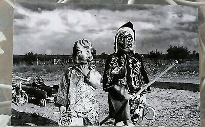 "Vintage Photo Reprint Halloween Scary Clown & Witch 1950""s 4""x6"""