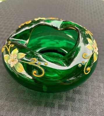 Vintage Emerald Green Blown Glass Hand Painted Floral Ashtray, Trinket Dish.....