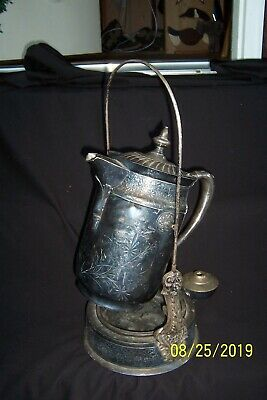 Antique DERBY SILVER CO. Quadruple Plate Engraved Tilting Water Pitcher w/Stand