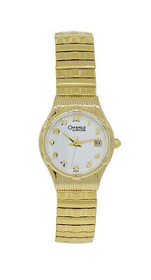 Caravelle by Bulova 44M01 Women's Round White Analog Date Stretch Band Watch