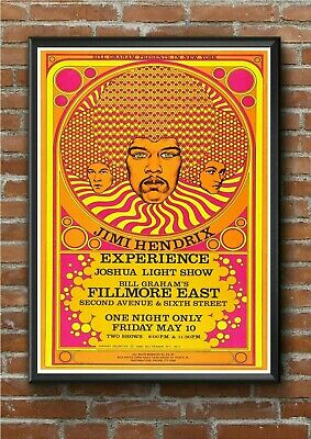 Jimi Hendrix Fillmore East Concert Gig Poster Print - A3 A4 A5 - Pro Printed