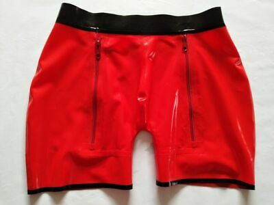 100% Latex Rubber Gummi Hose Boxer Shorts Rot Underwear Pants briefs 0.4mm S-XXL