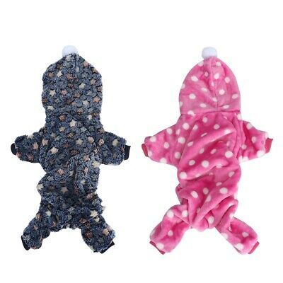 Pet Puppy Dog Pajamas Jumpsuit Cute Soft Flannel Puppy Coat Small Dog Cat
