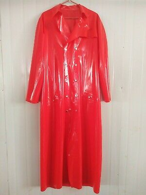 New Latex Rubber Anzug Mantel Gummi Rot Long Trench Coat Ganzanzug Size S-XXL