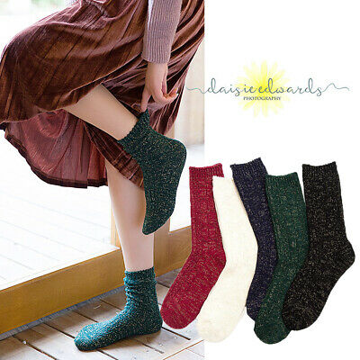 Women Ladies Thick Winter Socks 5 Pairs Warm Wool Nordic Novelty paillette Sock