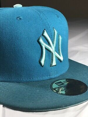 NY New York Yankees Fitted 7 5/8 Turquoise New Era Hat 5950 59Fifty
