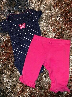 Baby Girls Infants Newborn Two Piece Outfit Set Navy Blue Pink Butterfly Bodysui