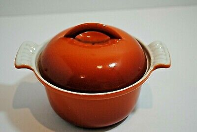 VTG Dru Holland Enamel Cast Iron Fire Orange Dutch Oven