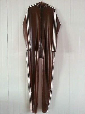 Ganzanzug Gummi Latex Uniform Catsuit Rubber Cosplay Coffee Kostüm Herren S-XXL