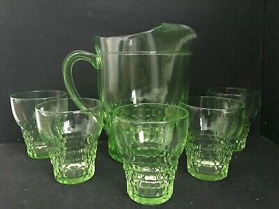 GLOWS Art Deco Green Depression Glass Uranium Lemonade Set Water Jug & Glasses