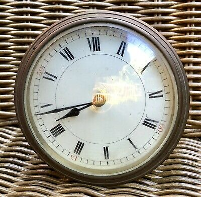 Antique French Brass Clock Movement With Enamel Dial & Glass.