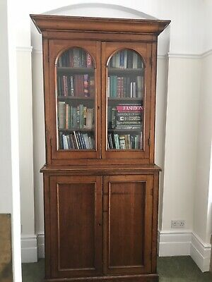 Very Large Victorian Glazed Bookcase Cupboard Pine