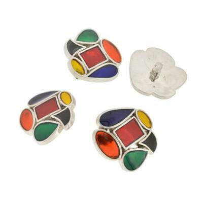 4 vtg retro silver tone unusual shaped red blue green yellow buttons 30mm