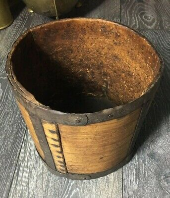 A Good 19th Century Wood And Iron Grain Measure Stamped