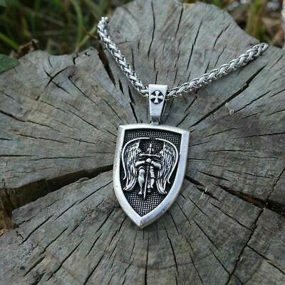 Silver Archangel St.michael Saint Cross Shield Russian Orthodox Chain Necklace