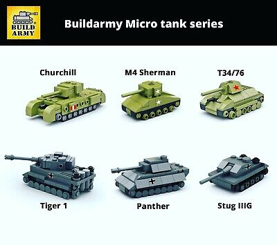 Buildarmy® WW2 MOC mini tank German Tiger Panzer soviet T34 brick+instruction