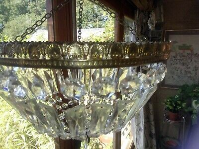 Vintage French Ornate Glass Brass Basket Style Chandelier