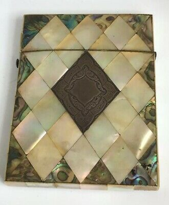 Rare ANTIQUE  CALLING CARD CASE MOTHER OF PEARL & ABALONE VICTORIAN MOP c1870