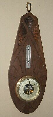 Wall Weather Station  Antique Art Deco Barometer Wood Case Made in France