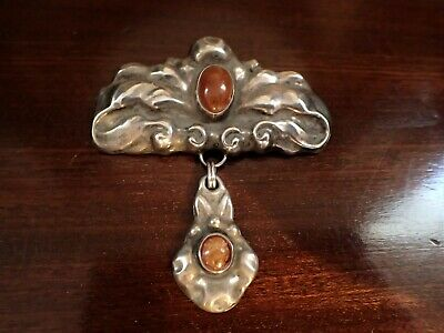 Antique Danish Silver Skonvirke Amber Drop Brooch Arts and Crafts Jewelry c1915