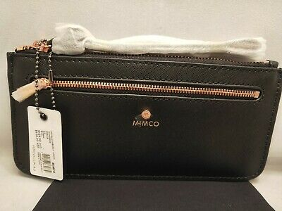 BNWT MIMCO Micra Currency Pouch Black Saffiano Leather RRP $129