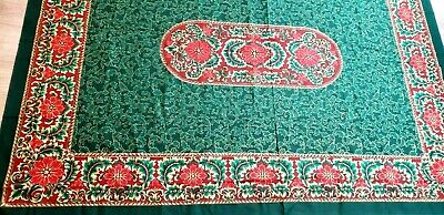 "Vintage Christmas Tablecloth 100% Cotton 1992 Brazil Green Red 70"" Poinsettia"