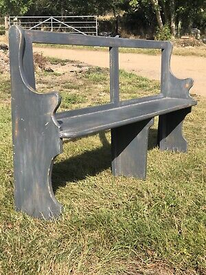 Vintage Painted Rustic Farmhouse Kitchen Hallway Open Back Bench Seat Pew