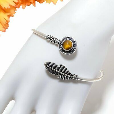 Tiger'S Eye Gemstone 925 Sterling Silver Jewelry Cuff Bracelet Adst. 1779