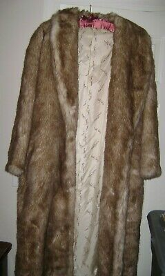 Pierre Cardin Fabric Lined Faux Fur Coat Women's About 46 Long 23 Pit to Pit