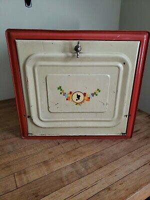 Vintage Tin Metal Pie Safe Bread Box Double Shelf Red White Farmhouse