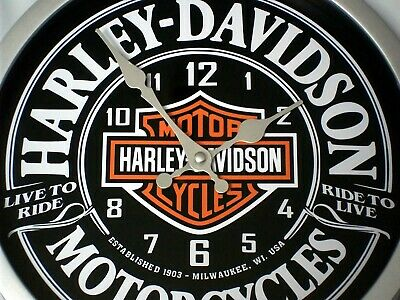 "Harley Davidson Themed ""Live To Ride"" Wall Clock."
