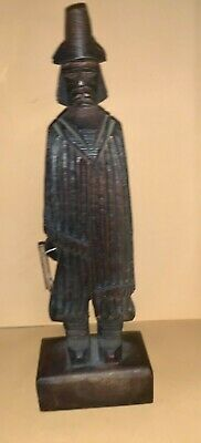 Hand Carved Traveler pilgrim  Tall Hat Woven Cape Figure