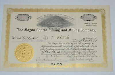 The Magna Charta Mining and Milling Company 1901 antique stock certificate Cripp