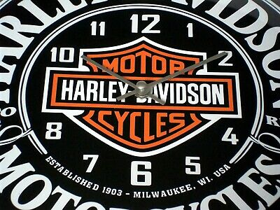 Harley Davidson Themed, Large Domed Glass  Wall Clock / Wall Art. 30Cm Round.